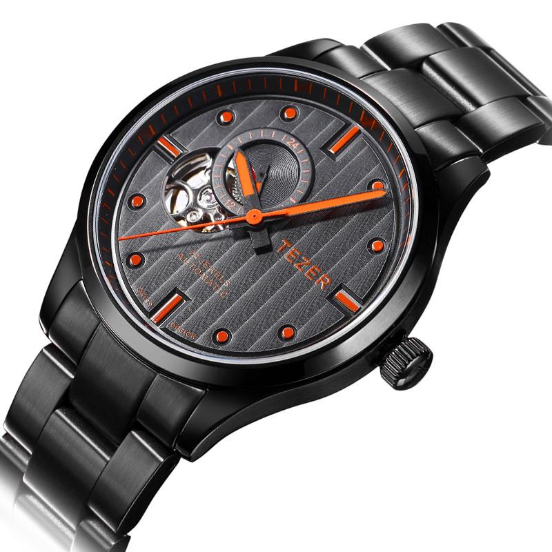 TEZER Известный Бренд Часы Мужские Черный Нержавеющей Стали Автоматическая Self-ветер Tourbillon Наручные Часы Для Мужчин Бизнес 50 М водонепроницаемый