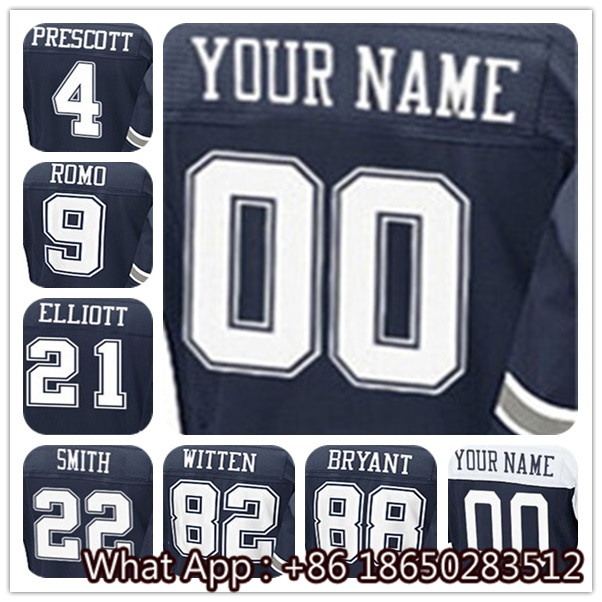Men's #4 Dak #9 Tony #22 Emmitt #21 Ezekiel #82 Jason #88 Dez Men's Black White Navy Football Jersey 100% Stitched Customized(China (Mainland))