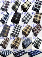 25pcs/ lot Wholesale+free shipping Fashion Mans Plaid Scarf cashmere wrap cape tassel muffler set 135cmx30cm
