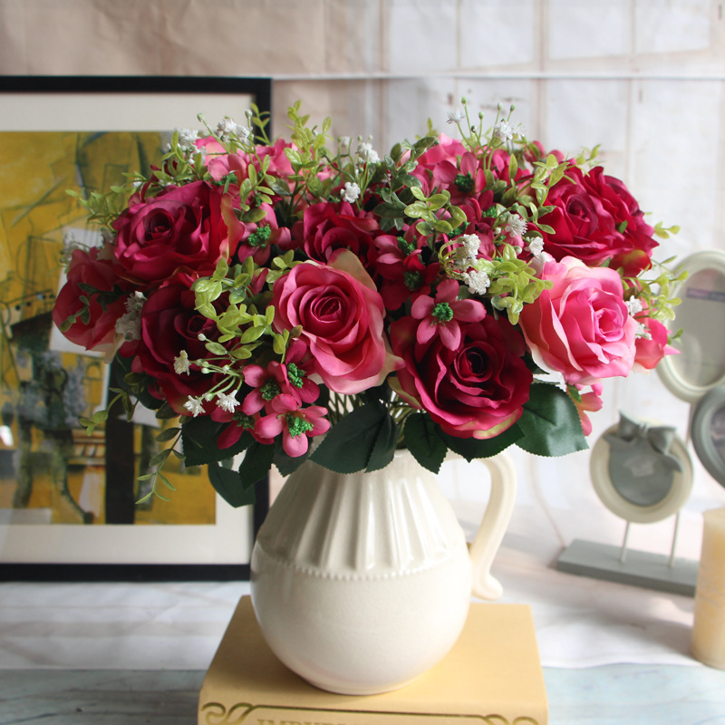 South Korea Spring style Snow mountain rose artificial peony silk flower wedding decoration flower bouquet with grass and leafs(China (Mainland))
