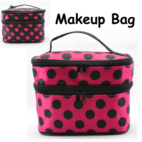 2013 New Fashion Double Layered Zipper Foldable Cosmetic Bag with Dots Pattern Retail+Dropshipping