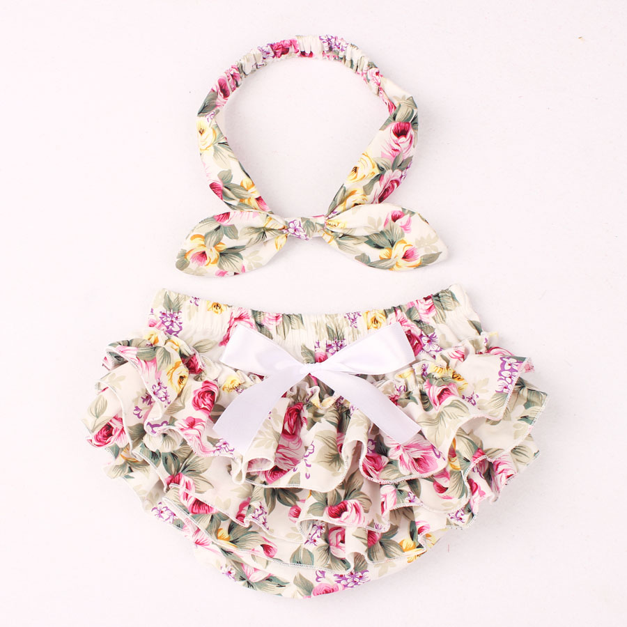 Floral Cotton Baby Bloomer & Headband Set Newborn Ruffle Diaper Cover with Headwrap Girls Baby Photo Shorts KS025(China (Mainland))