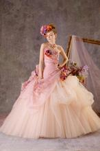 Elegant organza and colorful flower tulle floor-length hand-made flower strapless lace-up wedding dress 2015 Ball Gown AQ-634(China (Mainland))