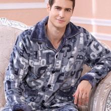 2016 Modern Fashion Men Winter Keep Warm Anti Cold Coral Fleece Pajamas sets of Sleepcoat & Trousers Adult Casual Home Apparel(China (Mainland))