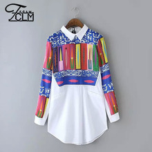 2016 New Brand Spring Summer White Blouses Geometric Printed Shirts Long Sleeve Lapel Blouses Leisure All-Match Blouses CN1502(China (Mainland))