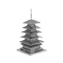 3D Головоломки пятиэтажного Пагода Металлический Нержавеющей Стали DIY Сборка Модели Бесплатные Пластиковые Развивающие Игрушки Головоломки Для Детей