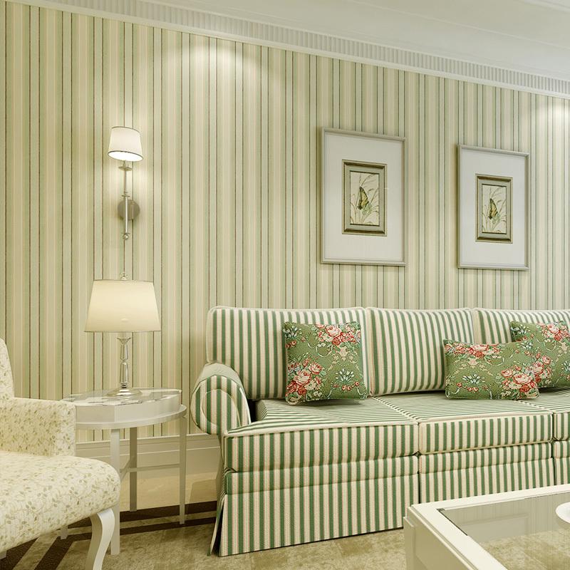 Online kaufen gro handel gr nen streifen tapeten aus china - Wohnzimmerwand tapete ...