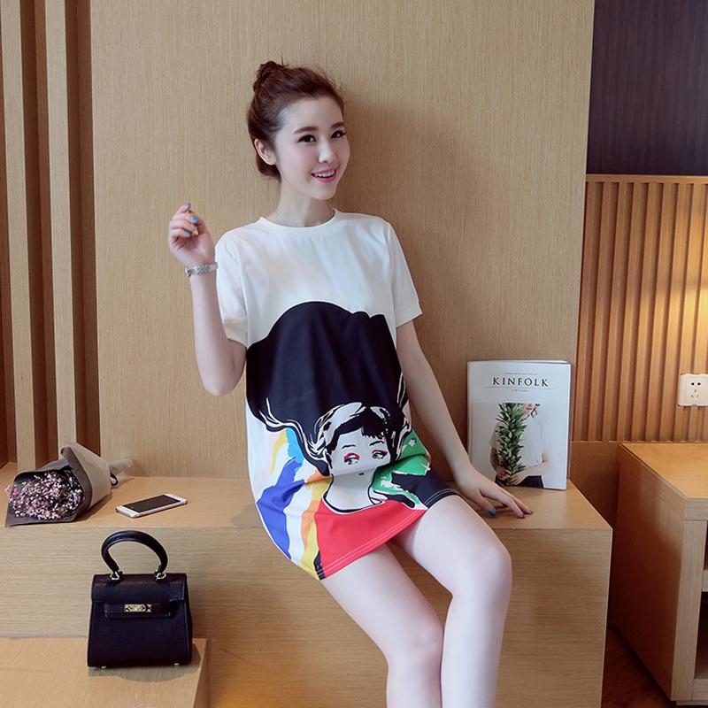 Beautiful Printing Knit Dress Maternity Dress Round Neck Rib Cuff(China (Mainland))