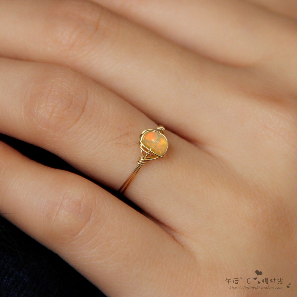 Free shipping Promotion! Natural Opal Ring, 14K Gold Filled Natural Oval Fire Opal Ring, Lucky October Birthstone Ring(China (Mainland))