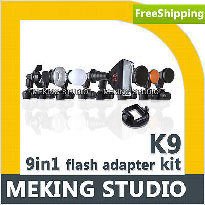 Flash Accessories K9 (Barndoor/snoot/softbox/honeycomb/beauty disc/diffuser)