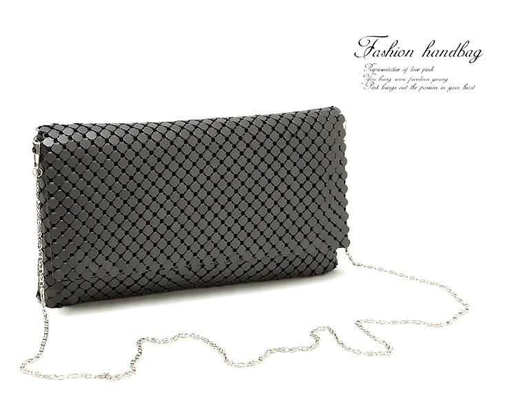 2016 woman High grade Fashion lady shoulder bag black sliver beautiful metal clutch handbag with chain free shipping(China (Mainland))