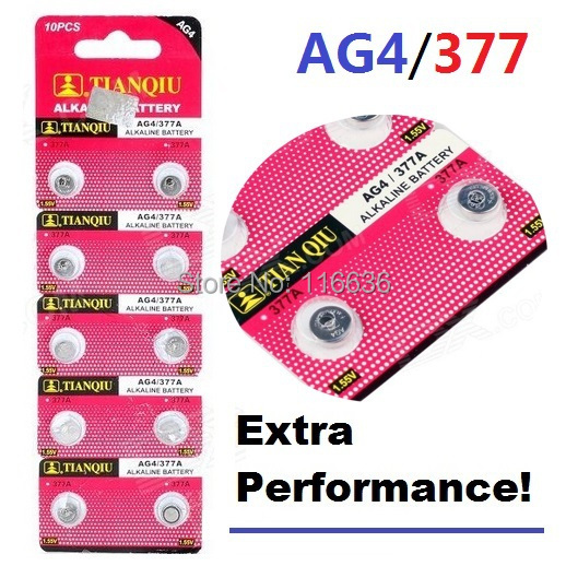 10pcs TIANQIU AG4 battery 377 LR626 SR626 626 Watch LR66 SR66 Cell Button Batteries Alkaline men