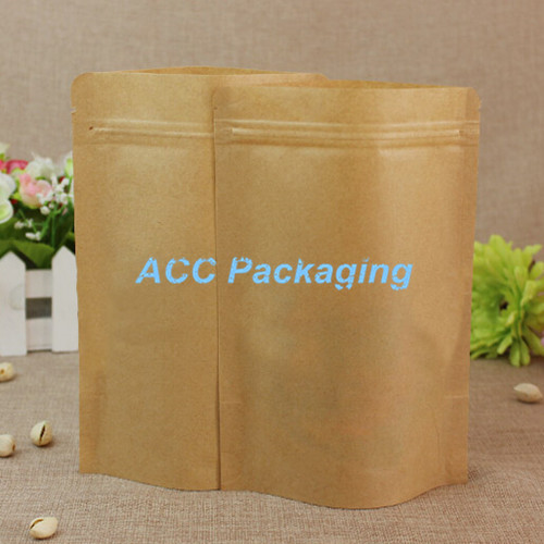 5.5''x8.7'' (14*22cm) Brown Kraft Paper Zip Lock Stand Up Aluminum Foil Bags For Coffee Snack Tea Storage Ziplock Package Bags(China (Mainland))