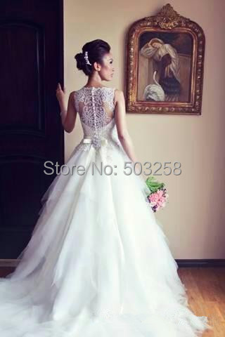DED32 Hot New Elegant Bridal Gowns Beaded Strapless Court Train Applique Lace Wedding dresses 2015(China (Mainland))