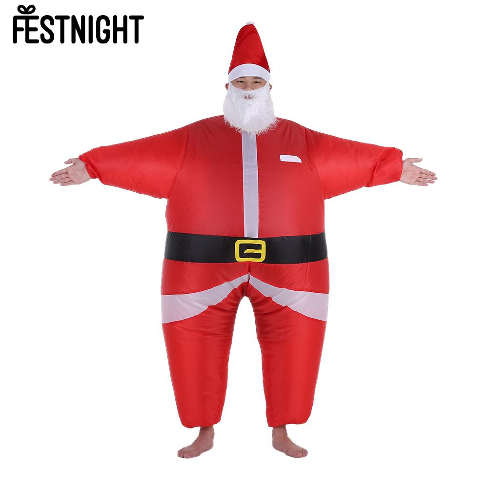 Funny Christmas Inflatable Santa Claus Costume Jumpsuit Air Fan Operated Blow Up Xmas Suit Christmas Party Inflatable Dress(China (Mainland))