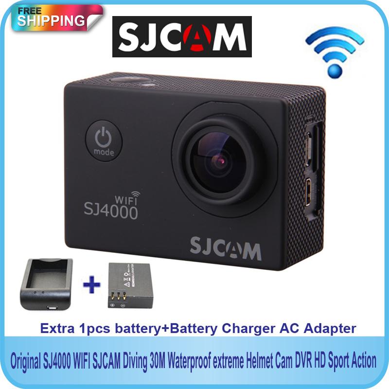 Free shipping!!Original SJCAM SJ4000 WiFi Diving 30M Waterproof Sport Action Camera+Extra 1pcs battery+Battery Charger(China (Mainland))