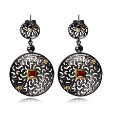 DC1989 Unique Rock Look Black Earrings For Women Big Dangling Earring Contrast Gold Plated Topaz Siam Cubic Zircon Setting(China (Mainland))