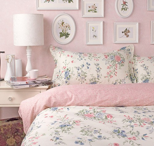 American rustic princess pink floral bed sets,4pc queen king size cotton,french pastoral home textile sheet pillow duvet cover(China (Mainland))