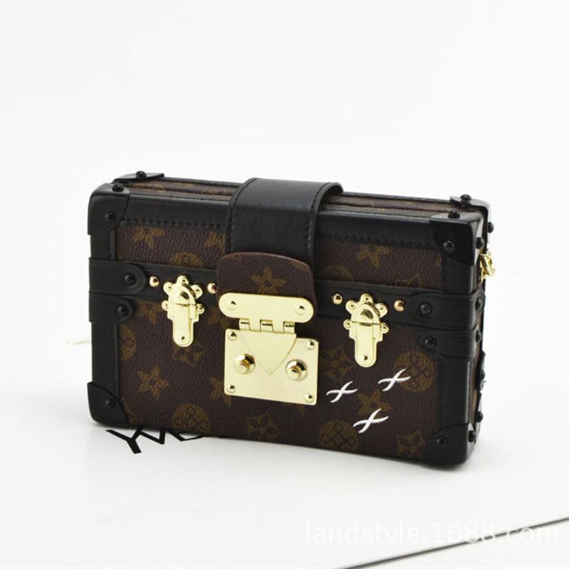 Hot Selling New Design Women Leather Shoulder Handbag Retro Print Patchwork Hard Box Day Clutches Ladies Evening Bag Clutch Bag<br><br>Aliexpress