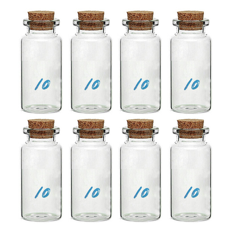 8 Pcs 10 ml Small Cork Bottle Clear Glass Bottle Wishing Bottle Sale(China (Mainland))