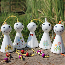 Free Shipping (10 pcs/lot) Japan Style Wind Chime Lovely Sunny Doll Wind Bell Handmade Ceramic Crafts Home Decoration Kids Gifts