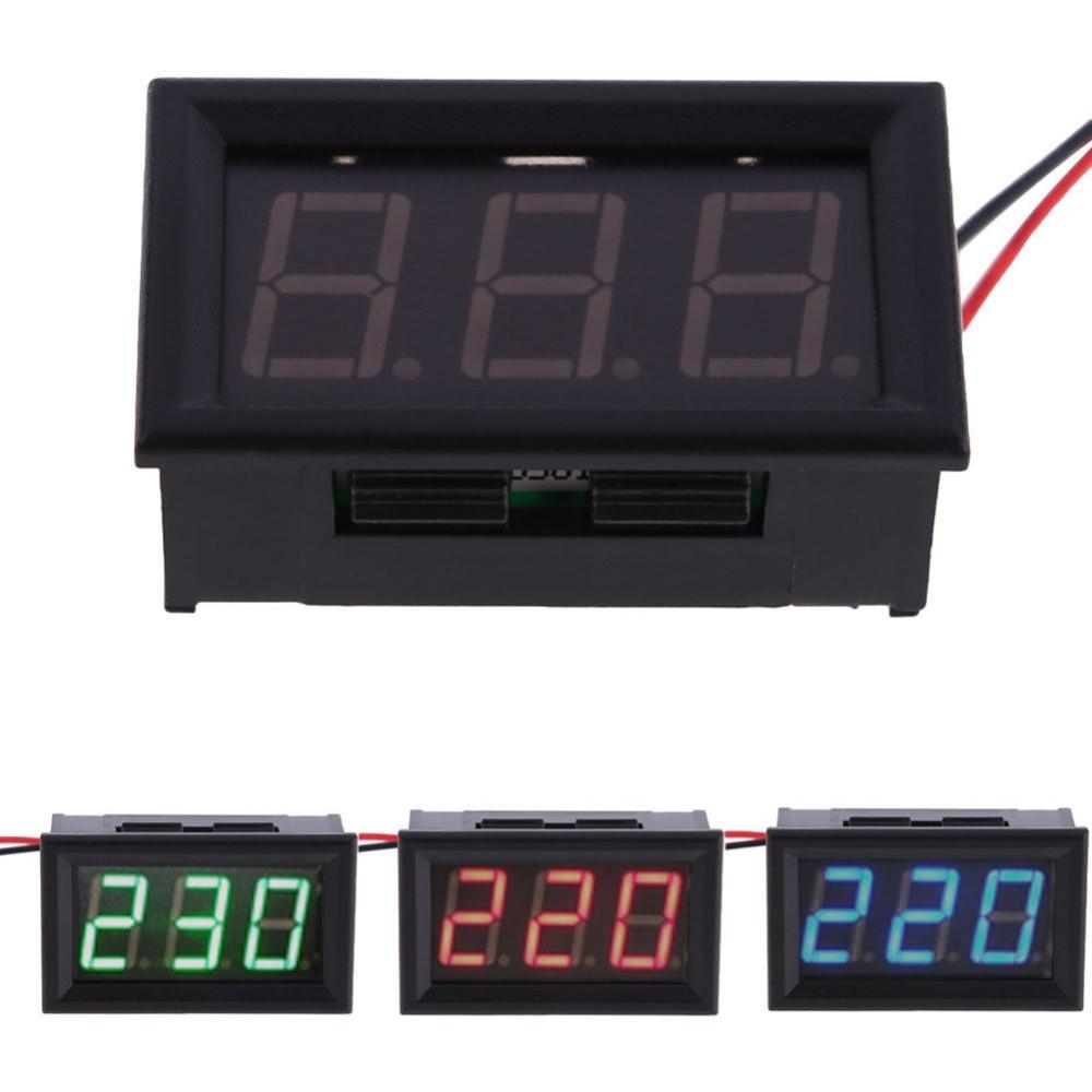 1 PC New Mini AC 60-500V 3-Digital LED Voltmeter Panel Display Voltage Meter w/ 2 Wires P5