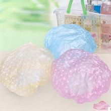 3pcs Set Women Ladies Waterproof Elastic Plastic Shower Cap Bathing Salon Hair Hats Caps 1 PY(China (Mainland))