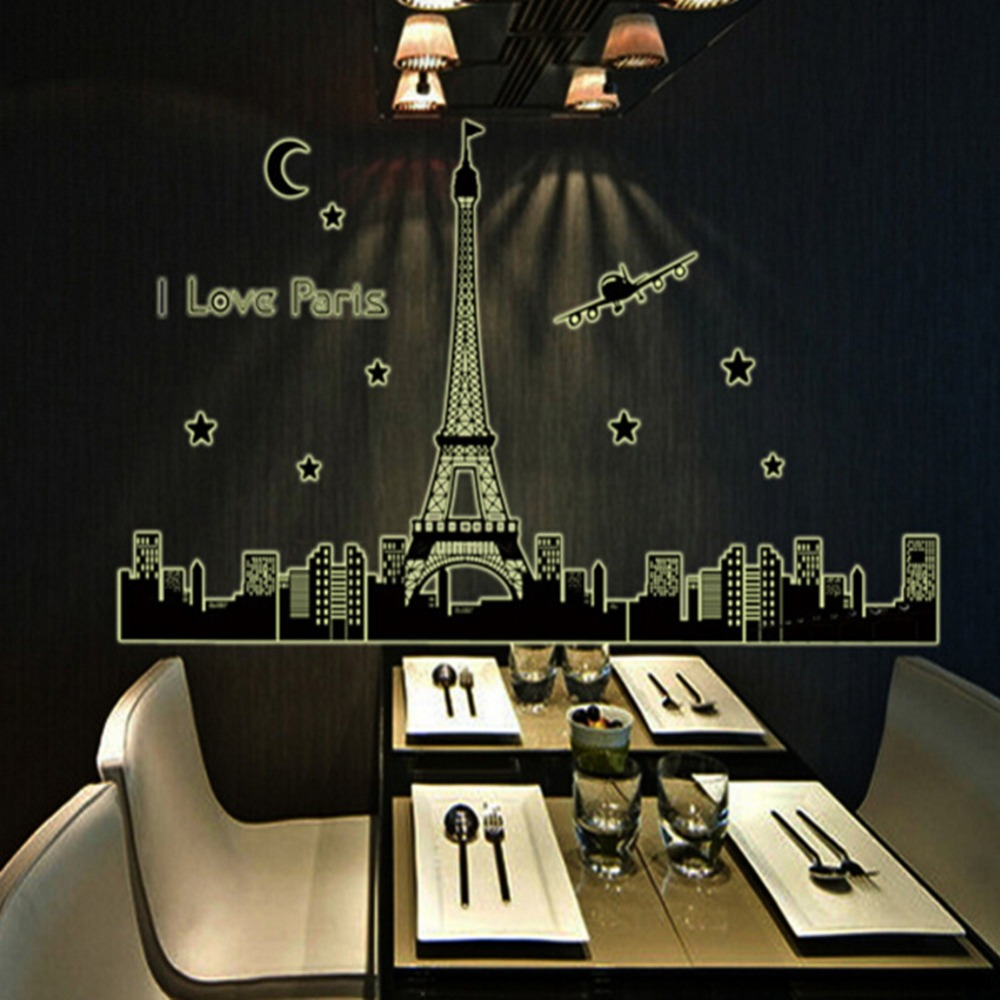 I Love Paris Eiffel Tower Stickers Wall Decals Glow In the Dark Home Decor(China (Mainland))