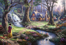 Thomas Kinkade art prints Giclee on canvas painting decor wall oversize 24x36inch NO Frame (Snow White discovers the cottage)(China (Mainland))