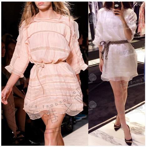 Isabel Marant Dress 2015 Summer Runway Women Elegant Sweet Pink White Tulle Silk stitching Mini dresses Hollow Out Ruffles Deco(China (Mainland))