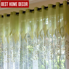 BHD tulle sheer window curtains for living room the bedroom modern tulle curtains green leaves fabric blinds drapes(China (Mainland))