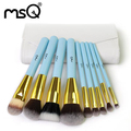 MSQ 9pcs Professional Makeup Brush Set Light Blue Synthetic Hair With White Leather Case