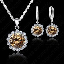 Großhandel Preis Hochzeit Schmuck Set 925 Reinem Silber Cubic Zirkon Halskette Anhänger/Ohrringe Modische Frauen Set(China)