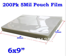 """200 5Mil 6x9"""" PVC 2Flap Glossy Clear Thermal Hot Laminating Pouch Film Laminator(China (Mainland))"""