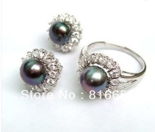 Free shipping@@charming Silver black 8-9mm pearl Ring+Earring jewelry set