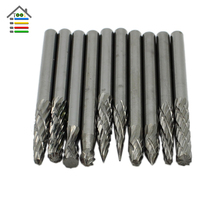 10pc/Set 3*3mm Shank Tungsten Carbide Cutter Rotary Tool Accessories Burr Set CNC Engraving Milling Cutter File Router Bit