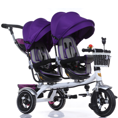 The children tricycle Twin trolley Three-wheeled carts bicycle Twin baby strollers baby car(China (Mainland))