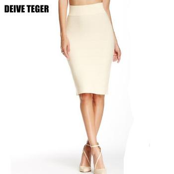 DEIVE TEGER Wholesale pencil skirt New Bandage Skirt Women Knee-Length Skirts 15 Colors 60cm  HL1186