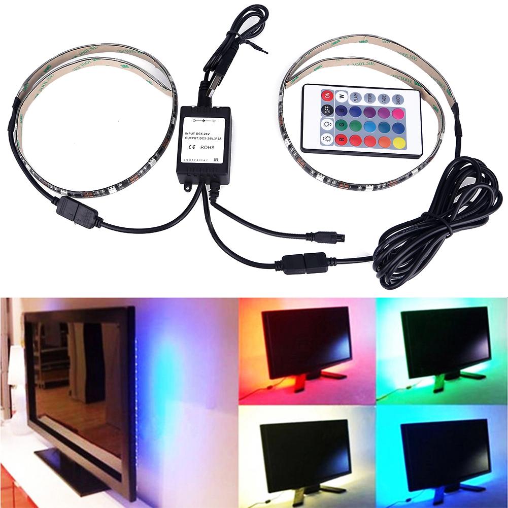 USB Cable RGB LED Light Strip Kit Flexible Back 50cm Two Tapes Set,Flat Screen LCD Desktop Computer LED TV Backlighting(China (Mainland))