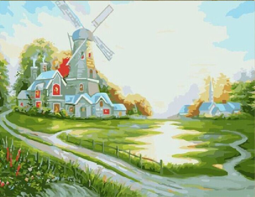 spring flower oil paintings canvas paint number modern house images beautiful sunrise G198 - Better Mood ^_^ store