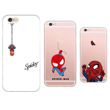 Cool Spiderman Superman Movie Printed Soft Transparent Cell Phone Case Shell Cover For Apple iPhone 5 5S 6 6S Carcasa Fundas
