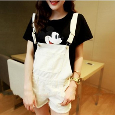 2015 Summer new women's fashion denim washing shorts frayed white jeans women Jumpsuits Rompers Girls Cute casual overalls Z1049(China (Mainland))