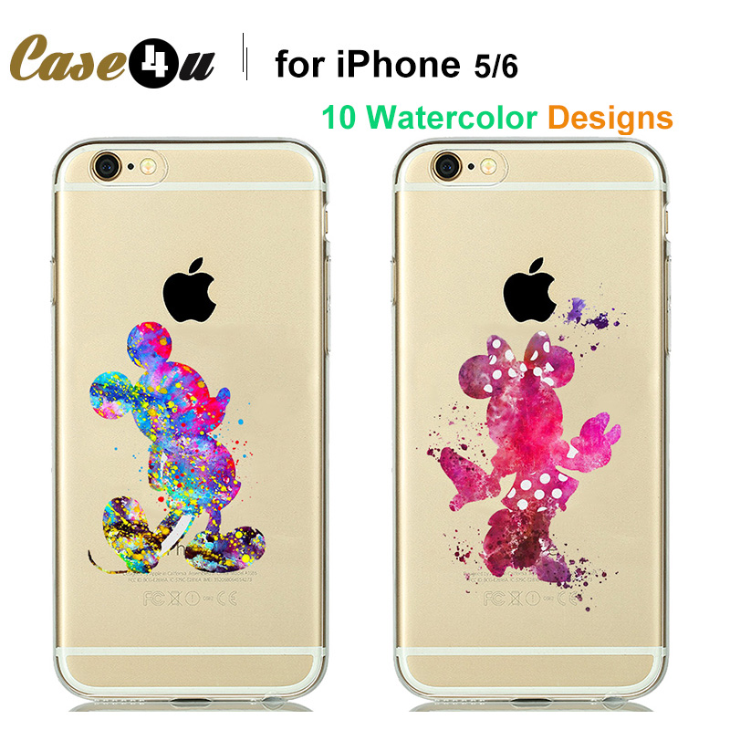Eye-catching Watercolor Cartoon animal Mickey mouse Mermaid Cinderella Soft Transparent Case cover for fundas iPhone 6s 6 5S 5(China (Mainland))