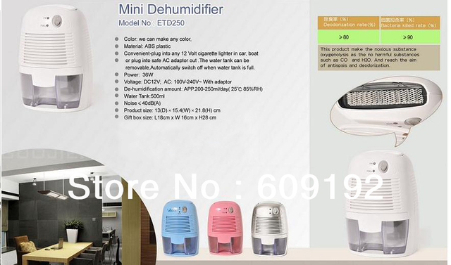 DHL or FEDEX free shipping for  100-240V (with adapter ) 250ML/Day household dehumidifier, moisture absorber,household appliance
