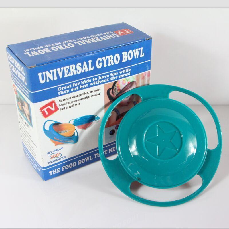 Baby Kid Boy Girl Gyro Feeding Toy Bowl Dishes Spill-Proof Universal 360 Rotate Technology Funny toy ER432(China (Mainland))