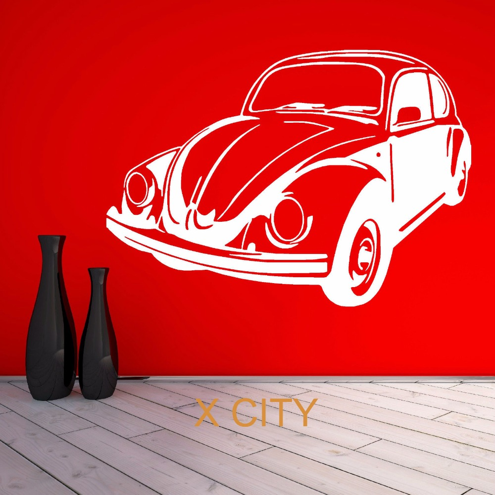 FOR VW BEETLE BUG retro volkswagen vintage classic car WALL ART STICKER VINYL TRANSFER DECAL DOOR ROOM STENCIL MURAL DECOR(China (Mainland))