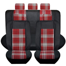 Hot universal seat cover 6-13pcs set flax composite sponge car styling interior accessories seat covers red grid and black