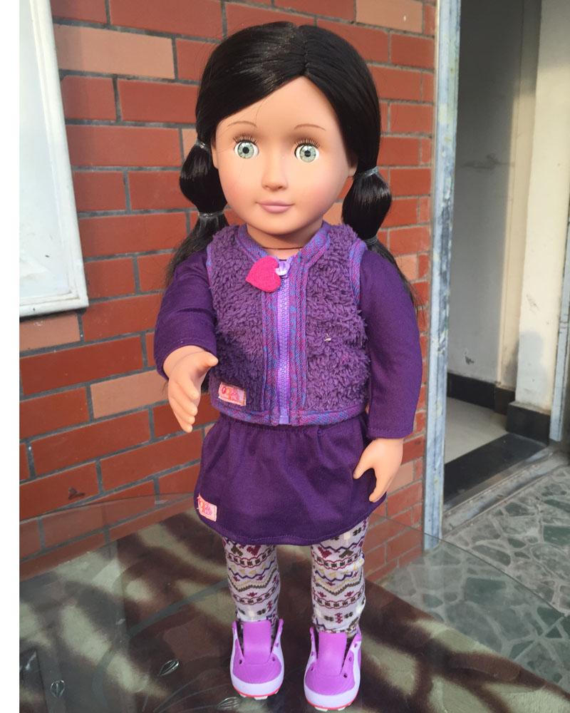 18 inch american girl doll OG Doll:Light Skin, Long Black Hair, Brown Eyes birthdaygift ,free shpping ADG13<br><br>Aliexpress