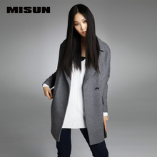 MISUN 2017 winter jacket women suit thicken woolen turn-down collar single breasted wide-waisted long mantle type outerwears(China (Mainland))