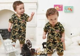 Print 2014 Brand Baby Boy&girl Camouflage Short-sleeve Newborn Toddler Clothing/ Kids Cute Warm Bodysuits - rebecca lin's store